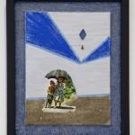 "Umbrella Kids collage 11"" x 9"" x ¾ "" 2013"
